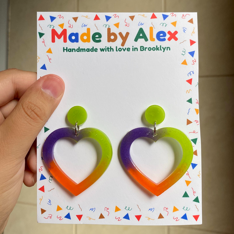 Tri-color Hearts Resin Earrings