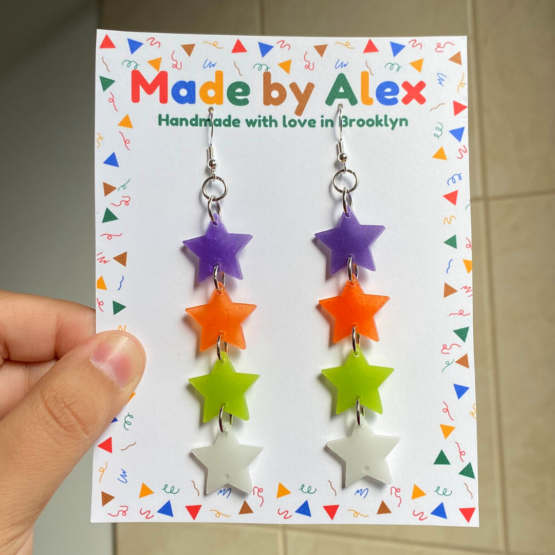 Spooky Star Dangle Resin Earrings
