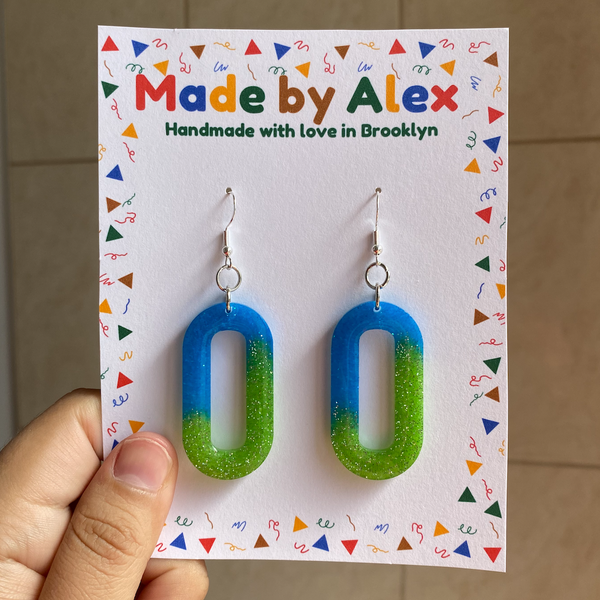 Earth Sparkle Resin Earrings