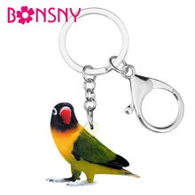 Load image into Gallery viewer, Bonsny Acrylic Lovebird Parrot Keychains