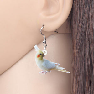 WEVENI Acrylic White Cockatoo Parrot Drop Earrings