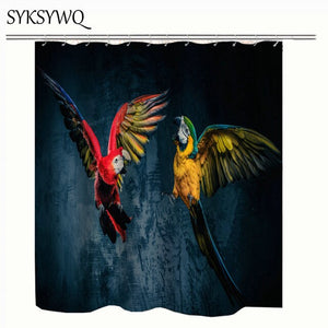 Macaw Theme Tropical Shower Curtin