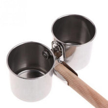 Load image into Gallery viewer, Parrot Feeding Stainless Steel Double Cage Cups/Clip Set of 2