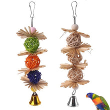 Load image into Gallery viewer, Natural Straw Parrot Chew Ball & Bells