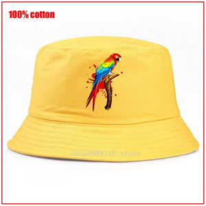 Parrot Pet Macaw Exotic Bird Panama Summer Bucket Cap Hat bob Hat Hip Hop