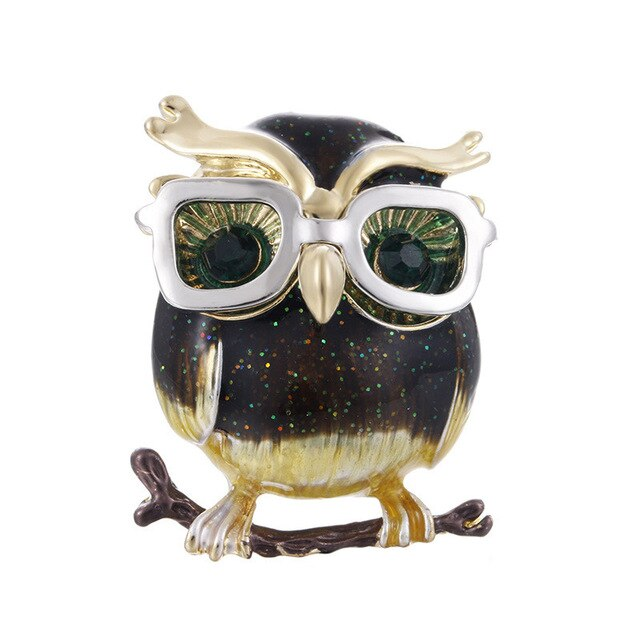 Owl Brooch Crystal Vintage Lapel Pin Brooch Jewellery