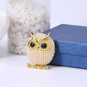 Vintage Owl Crystal Brooches