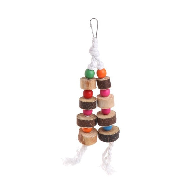 Hanging Toy With Balls & Ropes All Natural Wood