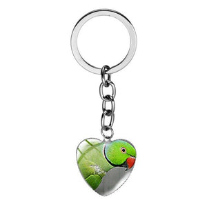 Heart Shape Parrots Of The World Keychain