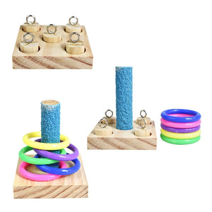 Parrot Wooden Platform Plastic Rings Intelligence Training Puzzle Toy Block.