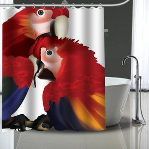 Hyacinth Scarlet Green Wing Macaw Shower Curtain With 12 Pcs Hooks
