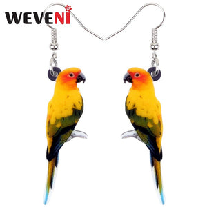WEVENI Acrylic Sun Parakeet Parrot Bird Earrings Big Long Dangle Drop Novelty Jewelry For Women Girls Teens Tropic Animal Charms