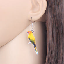 Load image into Gallery viewer, WEVENI Acrylic Sun Parakeet Parrot Bird Earrings Big Long Dangle Drop Novelty Jewelry For Women Girls Teens Tropic Animal Charms