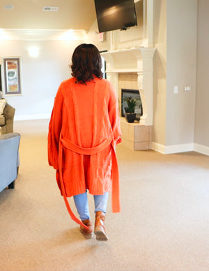 Knitted Long Cardigan (Brunt Orange) - Forever Pretti