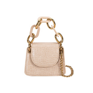 Mini Faux Croc Bag (Nude) - Forever Pretti