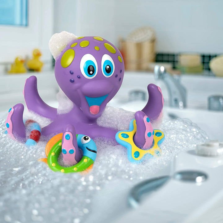 Floating Purple Octopus Bath Toy with Hoopla Rings