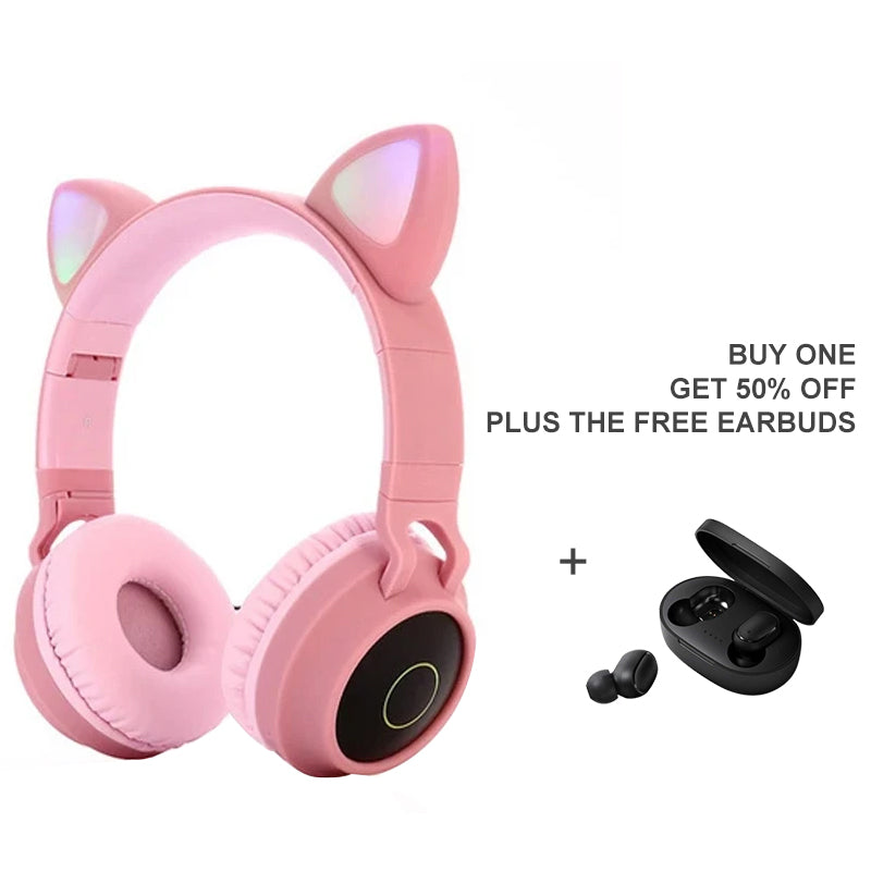 Wireless LED Cat-ear HIFI Stereo Bass Headphones