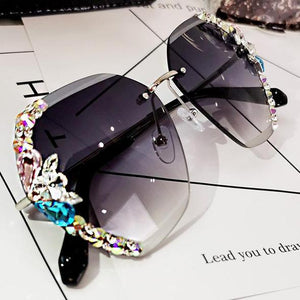 2020 Vintage Fashion Rimless Crystal Sunglasses