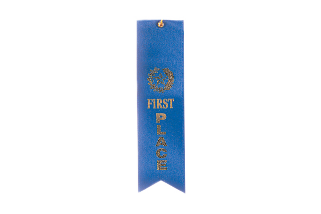 Blue 1st Place Ribbon w/ String