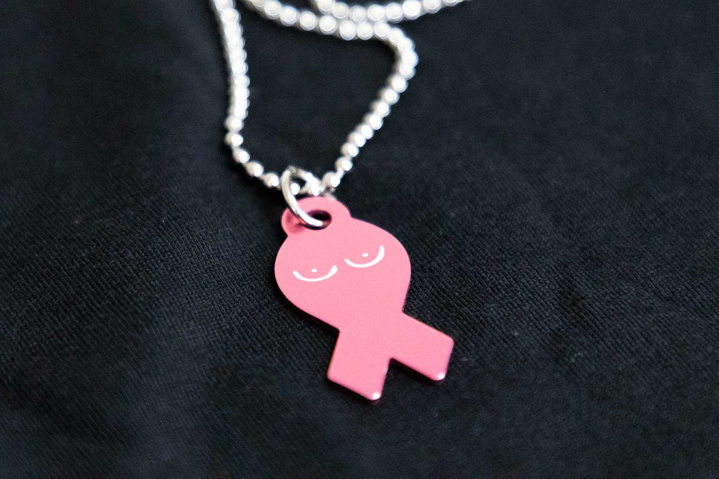 ♥ Boobs Breast Cancer Awareness Necklace