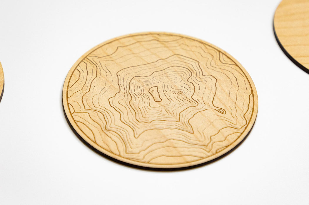 engraved wooden coaster of mount hood topography