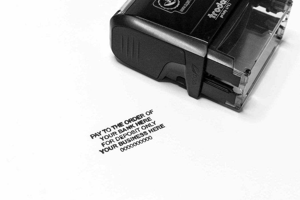 Pay to the order of, for deposit only self inking rubber stamp