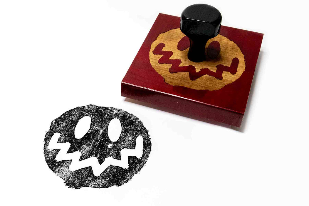 Large Smiley Face Wooden Rubber Stamp
