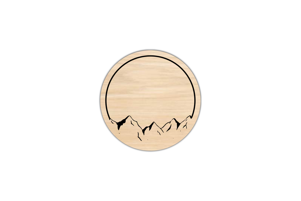 engraved wooden coaster Mountain Views