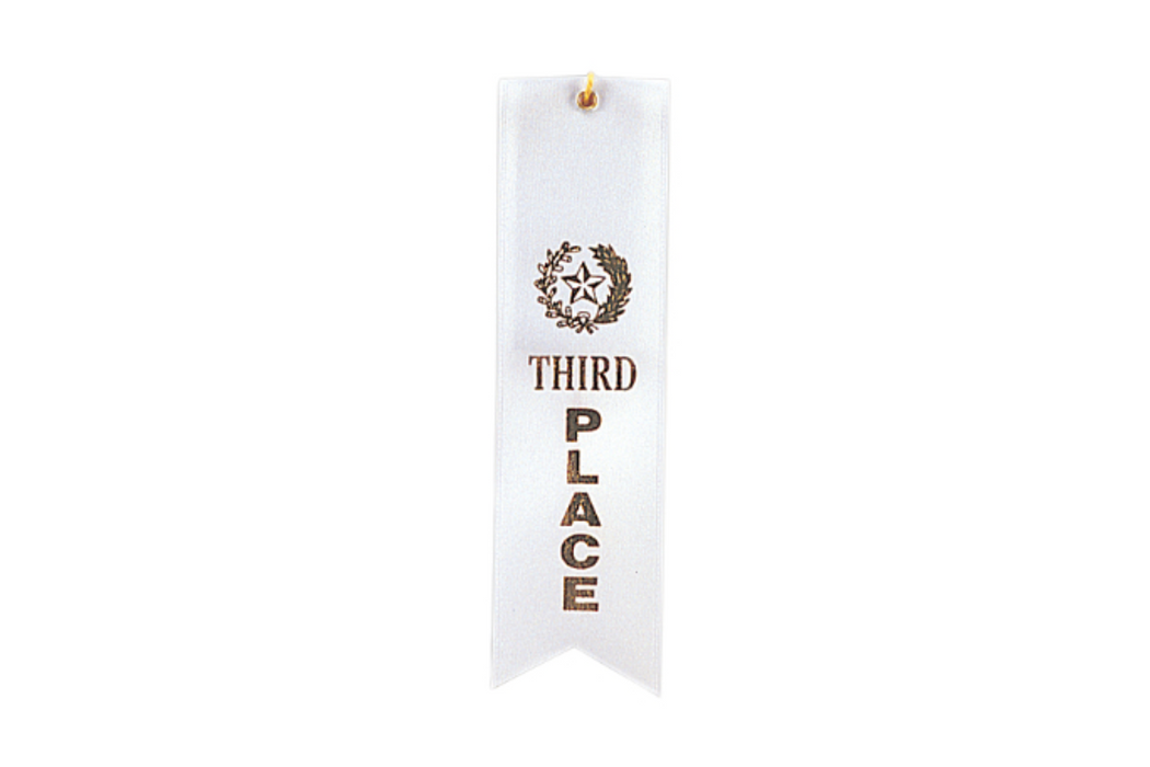 White 3rd Place Ribbon w/ String