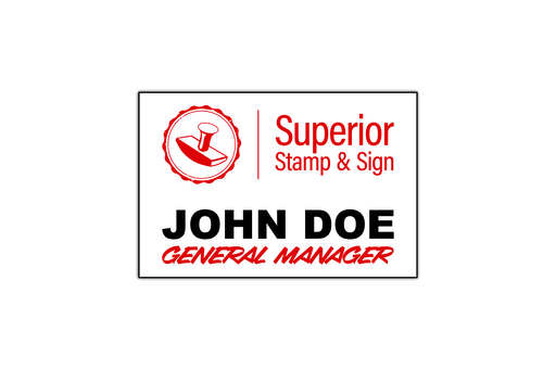 "3"" x 2"" Printed Name Badge by Superior Stamp and Sign."