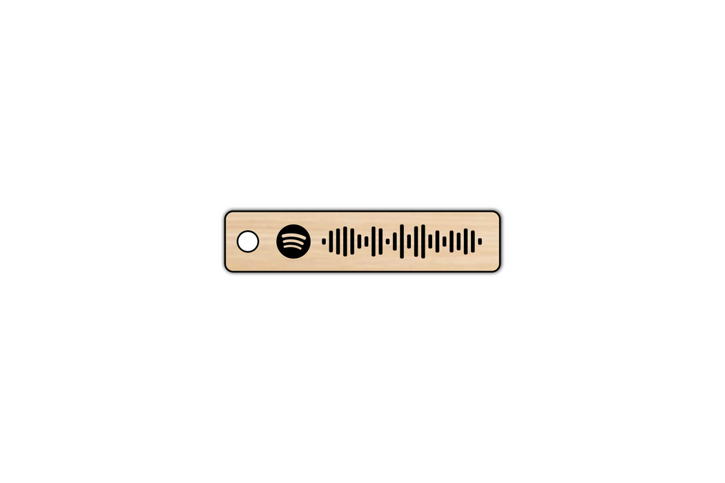 Faux Wood Spotify Code Keychain by Superior Stamp and Sign.