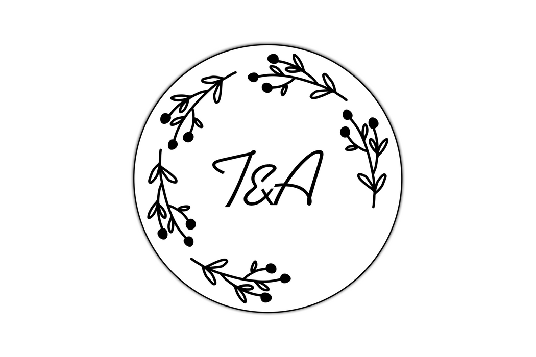 Floral Monogram Wedding Stamp