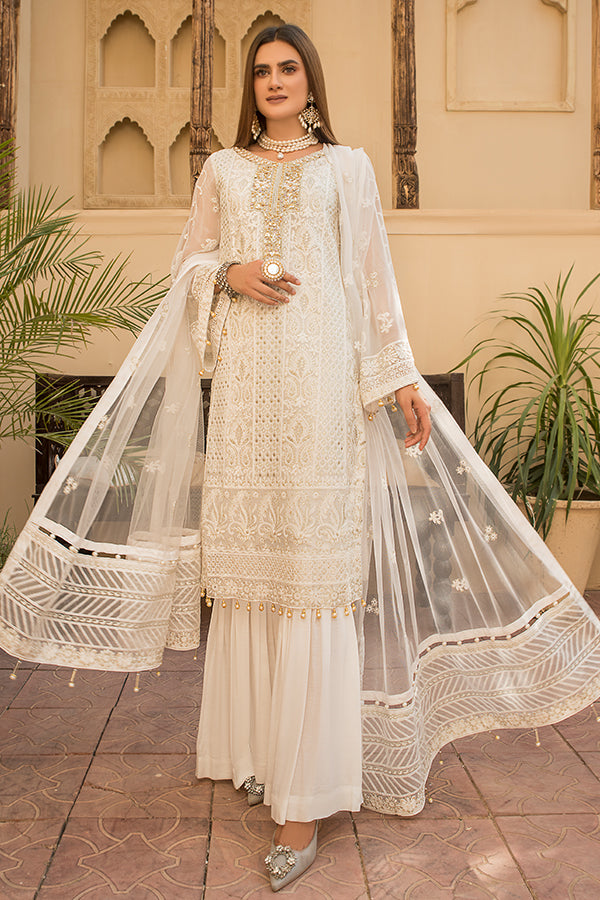 Maryams D-08 Floral White Chiffon Collection 2021