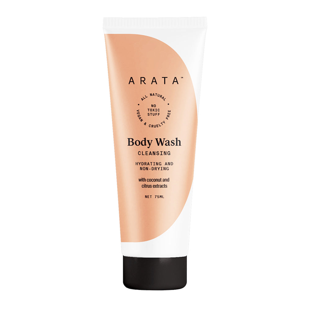 Arata Natural Hydrating & Non-Drying Body Wash | All-Natural, Vegan & Cruelty-Free | Gentle Daily Cleansing 75ml
