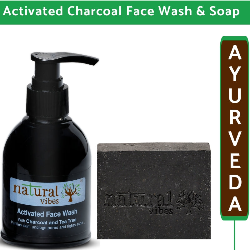 Natural Vibes Ayurvedic Activated Charcoal Face Wash and Soap Combo (Pack of 2)