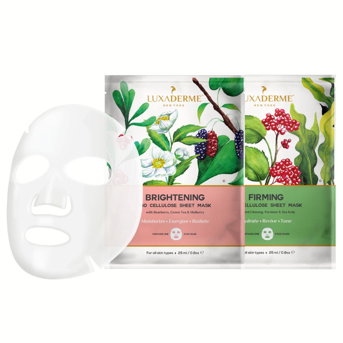 LuxaDerme Brightening & Firming Bio Cellulose Face Sheet Mask Combo (Pack of 2)