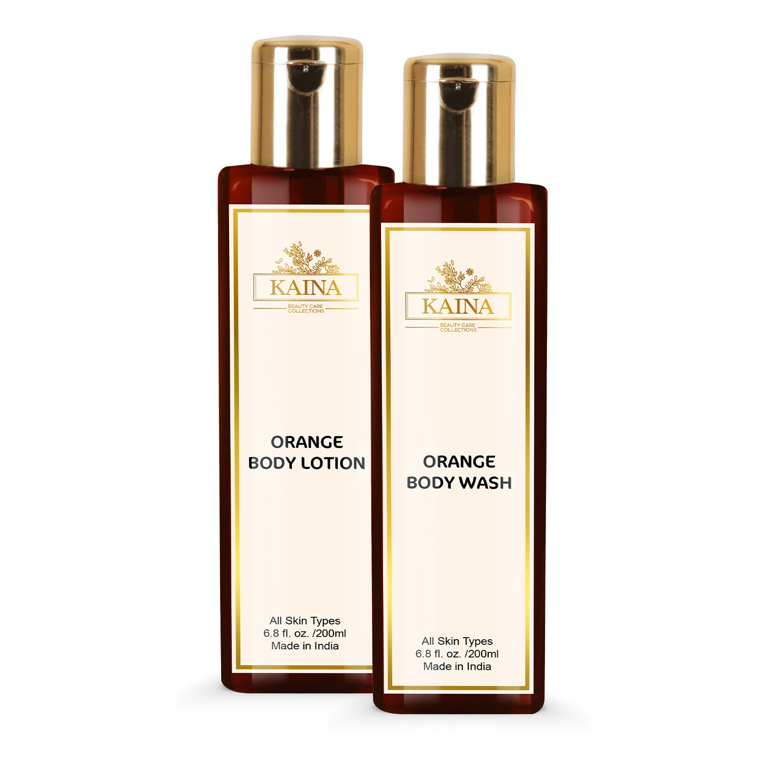 Kaina Skincare Orange Combo Set of 2 | Body Lotion 200 ml & Body Wash 200 ml | Skin Conditioner and Orange Cleansing