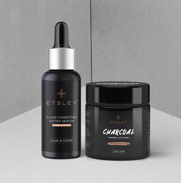 ETSLEY Charcoal Mud Combo - Charcoal Ginseng Clay Mask & Glow | Charcoal Purify & Detox Face Serum 130gm