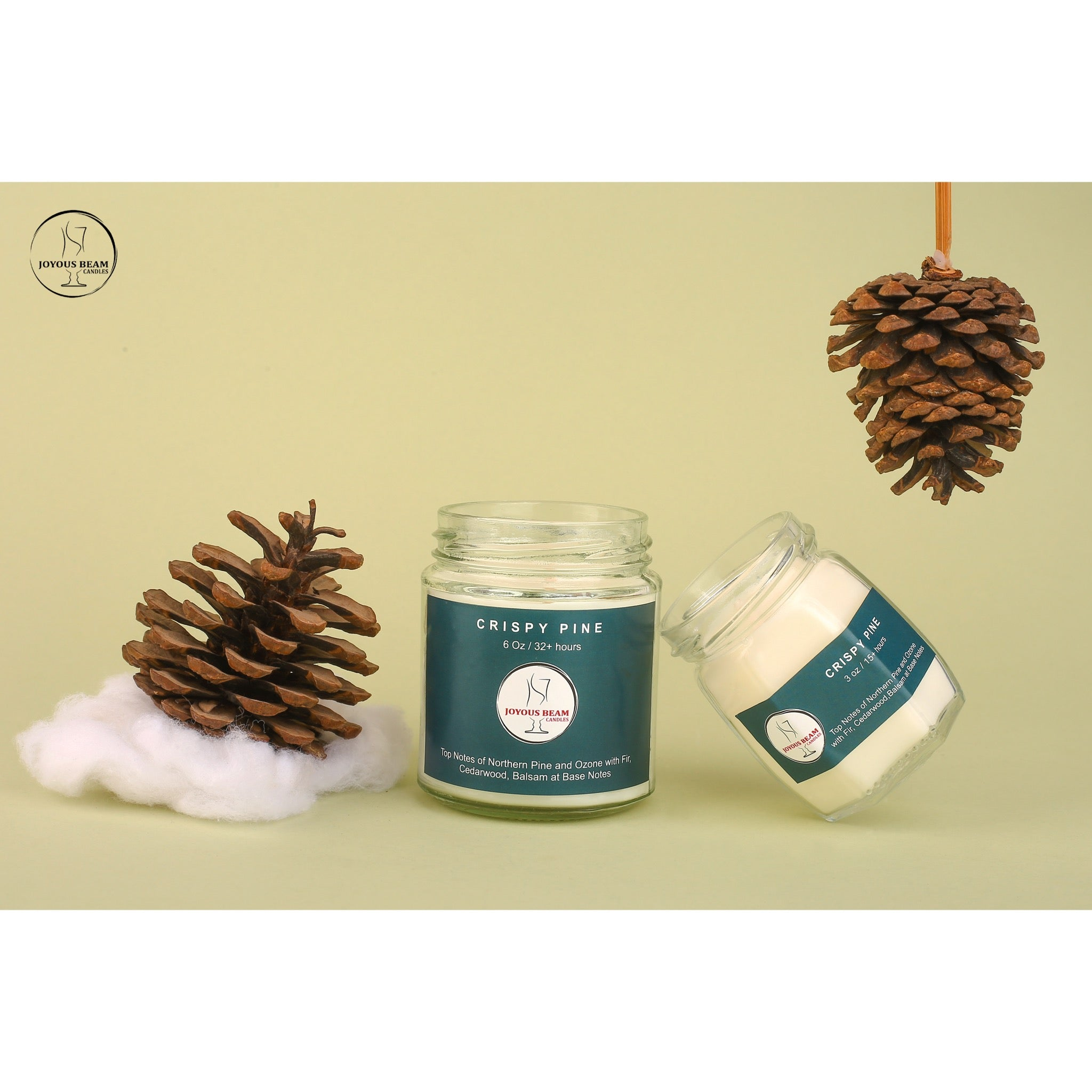 Joyous Beam Candles Scented Candle - Crispy Pine 90g - 3oz