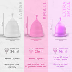 Pee Safe Menstrual Cup with Medical Grade Silicone - Large Pack of 1