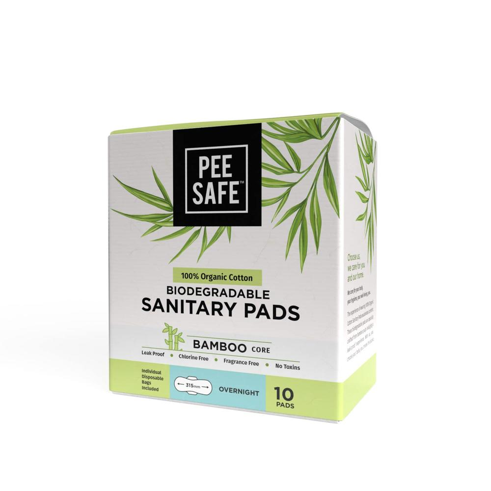 Pee Safe 100% Organic Cotton, Biodegradable Sanitary Pads - Overnight Pack of 10