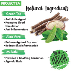 PROJECTEA Matcha Green Tea Revitalizing Face Scrub, 50gm | Detox, Exfoliate, Anti Acne | Aloe Vera, Ashwagandha | All Skin Types | SLS & Parabens Free