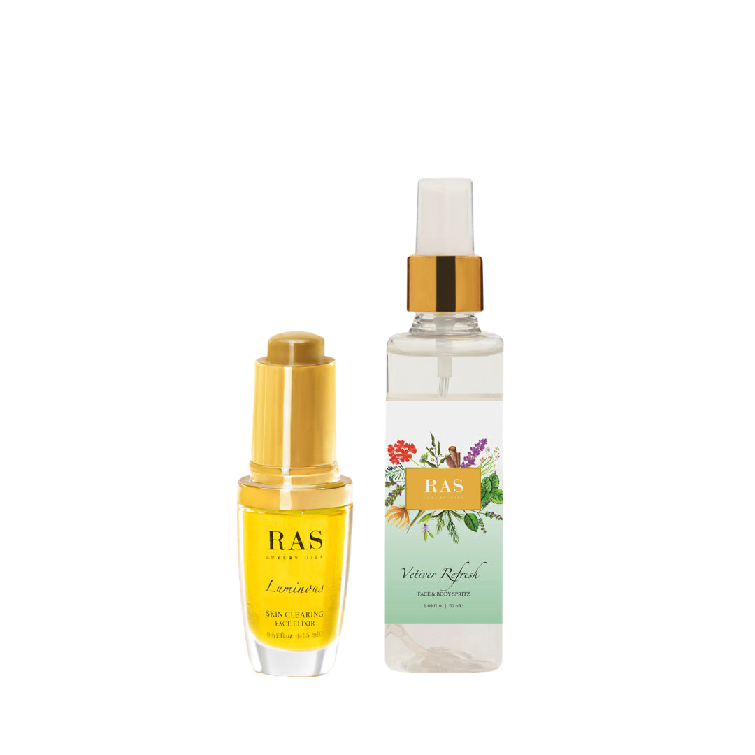 Ras Luxury Oils Clear Skin Duo Set for Oily Acne Prone Skin: Luminous Face Elixir 6ml, Vetiver Refresh Face Mist 50ml