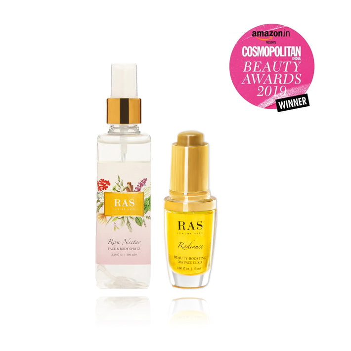 Ras Luxury Oils Skin Brightening Duo Set: Radiance Face Elixir 15ml + Rose Nectar Face spritz 15ml