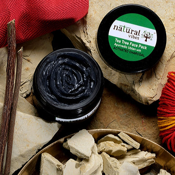 Natural Vibes Ayurvedic Tea Tree and Activated Charcoal Face Pack 50g
