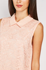 LACE FRONT COLLAR TOP