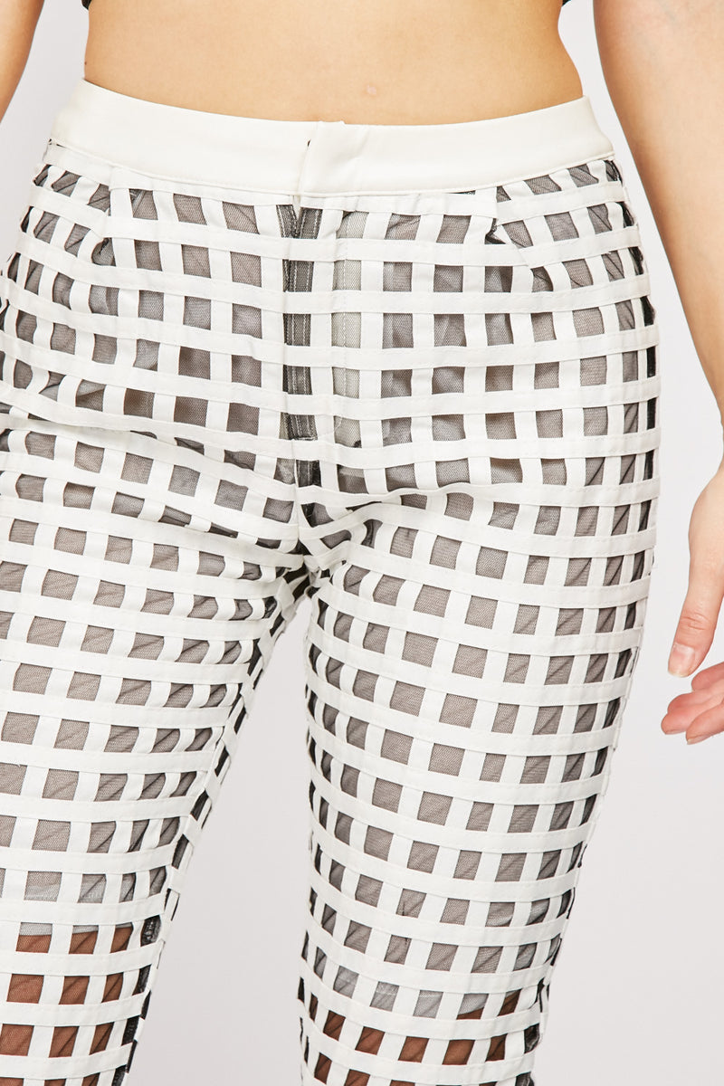WINDOW PANE MESH CONTRAST CROP TROUSERS