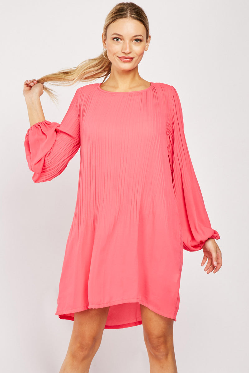 PLISSE CHIFFON SHIFT DRESS