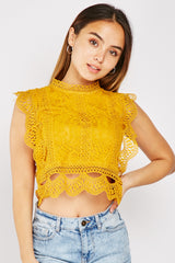 CROCHET TRIM CROP LACE TOP