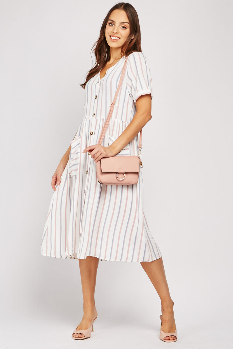VERTICAL STRIPED MIDI COTTON DRESS